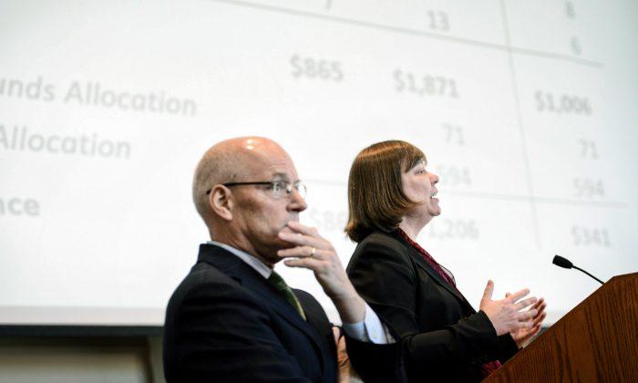Minnesota Management and Budget Commissioner Myron Frans, and State Economist Dr. Laura Kalambokidis speak about the state's projected budget surplus Thursday, Dec. 3, 2015, in St. Paul, Minn. (Glen Stubbe/Star Tribune via AP)