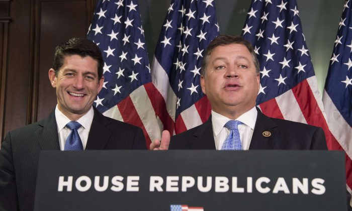 House Speaker Paul Ryan (R-Wis.) (L) and Congressman Bill Shuster (R-Pa.), chairman of the House Transportation and Infrastructure Committee, after a Republican Conference meeting in Washington, D.C., on Nov. 3, 2015. (Jim Watson/AFP/Getty Images)