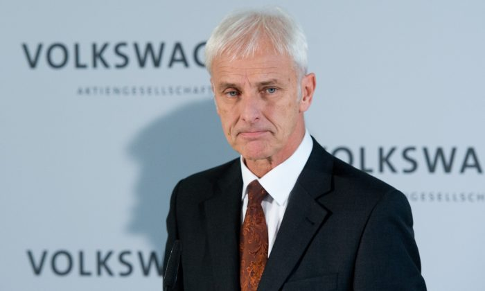 VW CEO Matthias Mueller delivers a statement after a meeting of the board of directors of German car manufacturer VW in Wolfsburg, northern Germany, on Nov. 20, 2015. (Julian Stratenschulte/AFP/Getty Images)