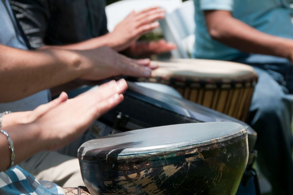 The drum is an important instrument in music therapy. You can't play a wrong note on a drum. (Courtesy of Kat Fulton)