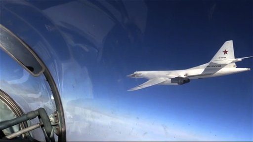 A Russian air force Tu-160 bomber during a combat mission as part of a Russian air campaign against targets in Syria, on Nov. 20, 2015. (AP Photo/ Russian Defense Ministry Press Service)
