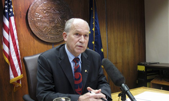 Gov. Bill Walker speaks to the media on Thursday, Nov. 5, 2015, in Juneau, Alaska, following the end of a special session he called to consider the buyout of one of the state's partners in a proposed gas project. (AP Photo/Becky Bohrer)