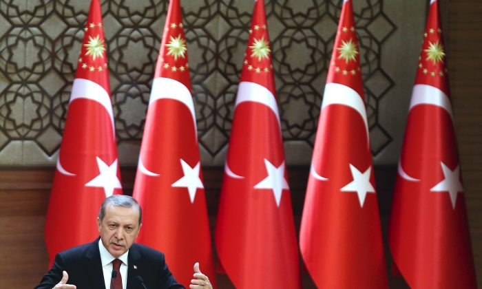 Turkish President Recep Tayyip Erdogan delivers a speech during Presidential Culture and Arts Grand Awards ceremony at the presidential palace in Ankara, on Dec. 9, 2015. (Adem Altan/AFP/Getty Images)