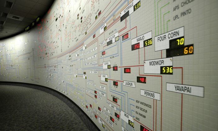 A map of power distribution through California's electrical grids in the control center of the California Independent System Operator (Cal-ISO) on Aug. 9, 2004 (David McNew/Getty Images)