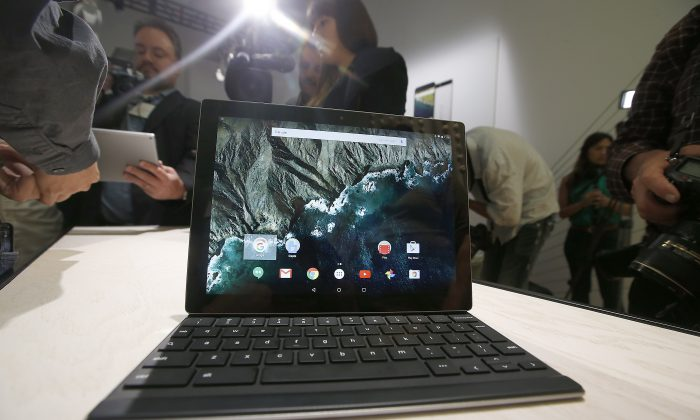 In this Tuesday, Sept. 29, 2015, file photo, the new Google Pixel C tablet is on display during a Google event, in San Francisco. (AP Photo/Tony Avelar)