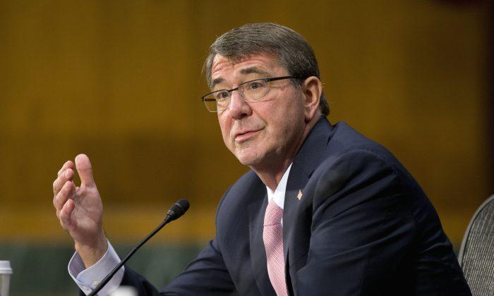 Defense Secretary Ash Carter testifies on Capitol Hill in Washington, Wednesday, Dec. 9, 2015, before the Senate Armed Service Committee. (AP Photo/Pablo Martinez Monsivais)