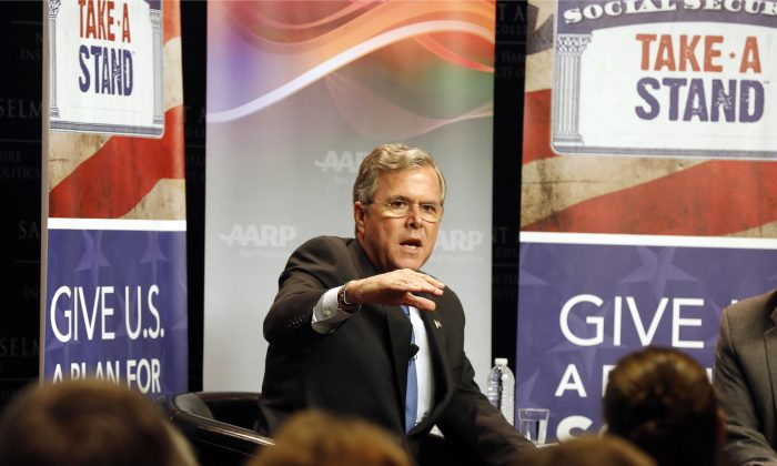 FILE - In this Dec. 8, 2015 file photo, Republican presidential candidate former Florida Gov. Jeb Bush speaks in Manchester, N.H. (AP Photo/Jim Cole, File)
