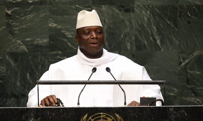 Gambia's President Al Hadji Yahya Jammeh addresses the 69th session of the United Nations General Assembly at the United Nations in New York on Sept. 25, 2014. (Don Emmert/AFP/Getty Images)