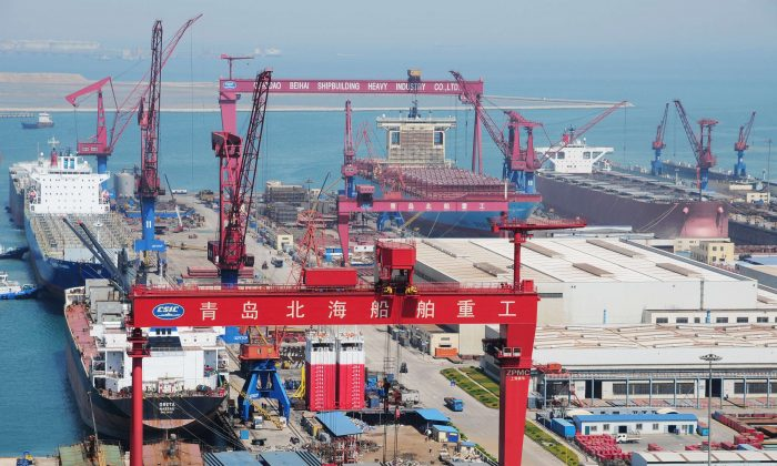 New container ships under construction in Qingdao, northeast China's Shandong province on April 26, 2012.  Shipping is one industry rife with overcapacity. (STR/AFP/GettyImages)