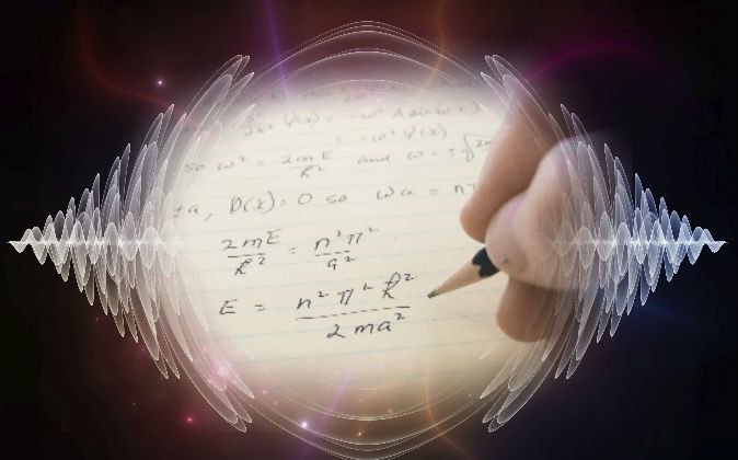 Schrodinger equation on a notepad (Graham Underwood/iStock) Background: (AGS Andrew/iStock)