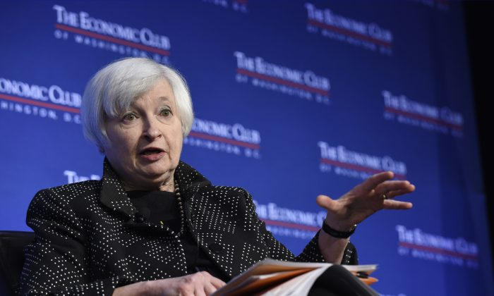 Federal Reserve Chair Janet Yellen speaks at the Economics Club of Washington in Washington, Wednesday, Dec. 2, 2015. (AP Photo/Susan Walsh)