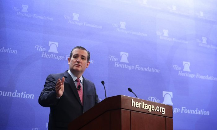 Republican presidential candidate Sen. Ted Cruz (R-TX) speaks at the Heritage Foundation December 10, 2015 in Washington, DC. Sen.(Alex Wong/Getty Images)
