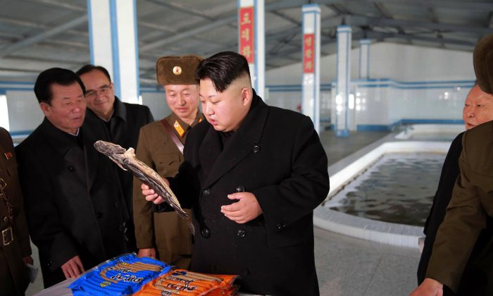North Korean leader Kim Jong-Un inspects a catfish farm renovated on May 9 in an undated photo released by North Korea's official Korean Central News Agency on Dec. 12. North Korea has launched a campaign to arrest Chinese nationals suspected of spying and other crimes. (KNS/AFP/Getty Images)