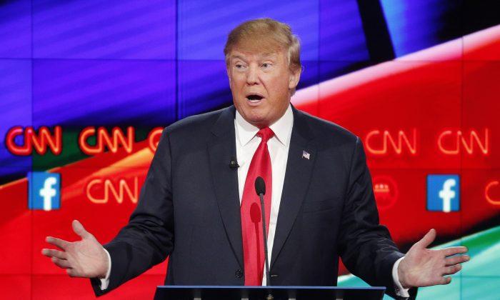 Donald Trump makes a point during the CNN Republican presidential debate at the Venetian Hotel & Casino on Tuesday, Dec. 15, 2015, in Las Vegas. (AP Photo/John Locher)