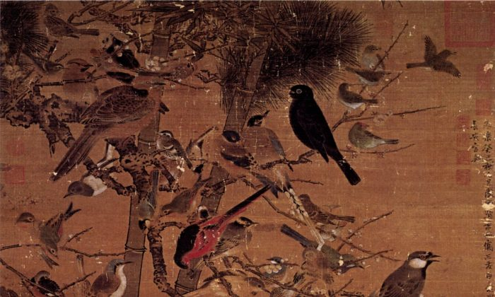 "A Ming Dynasty painting depicting the ""Three Friends of Winter""—the pine, bamboo, and plum blossom—titled ""Three Friends and 100 Birds"" by artist Bian Wenjin, also known as Bian Jingzhao. (Wikimedia Commons)"