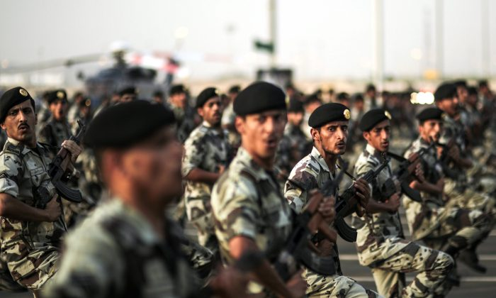 Saudi security forces take part in a military parade in preparation for the annual Hajj pilgrimage in Mecca, Saudi Arabia, on Sept. 17, 2015. (AP Photo/Mosa'ab Elshamy)