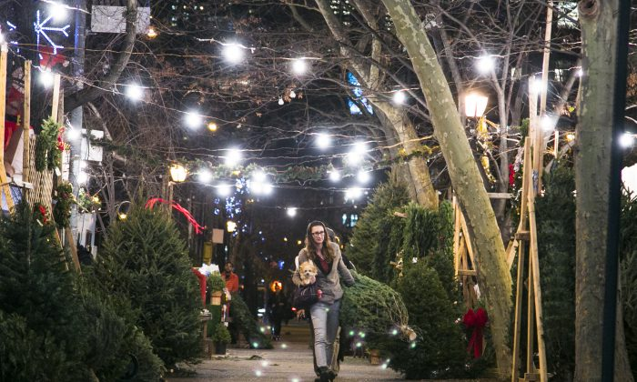 People walk through the SoHo Trees holiday shop at SoHo Square in Manhattan, New York, on Dec. 15, 2015. (Samira Bouaou/Epoch Times)