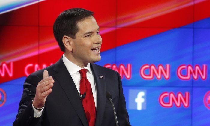Marco Rubio makes a point during the CNN Republican presidential debate at the Venetian Hotel Casino on Tuesday, Dec. 15, 2015, in Las Vegas. (AP Photo/John Locher)