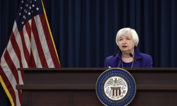 Federal Reserve Chair Janet Yellen during a news conference in Washington on Dec. 16, 2015, on the Fed's decision to raise its key rate by a quarter-point. (AP Photo/Susan Walsh)
