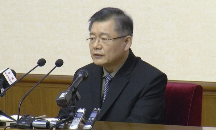 Hyeon Soo Lim, who pastors the Light Korean Presbyterian Church in Toronto, speaks at a news conference in Pyongyang, North Korea, on July 30, 2015. (AP Photo/APTN)