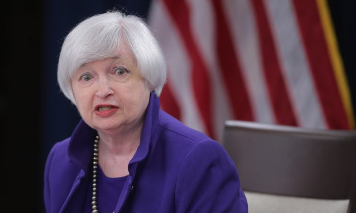 Fed Chair Janet Yellen holds a news conference where she announced the Fed will raise its benchmark interest rate for the first time since 2006 on Dec. 16, 2015 in Washington, D.C. (Chip Somodevilla/Getty Images)