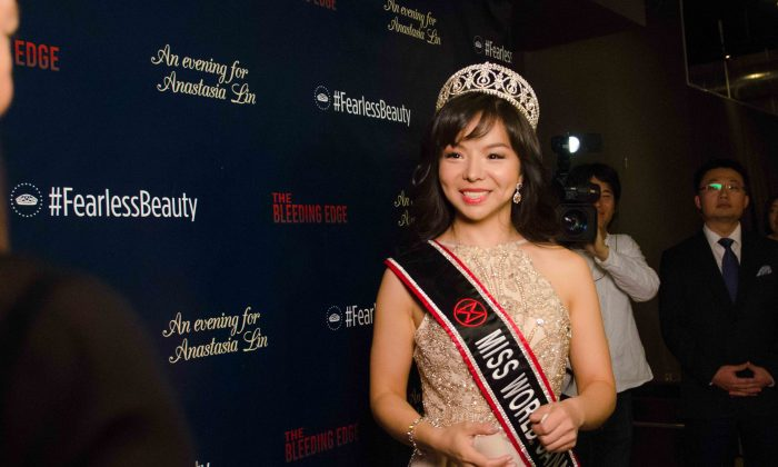Miss World Canada Anastasia Lin speaks to reporters at an event in her honour at The Spoke Club in downtown Toronto on Dec. 15, 2015. (Matthew Little/Epoch Times)