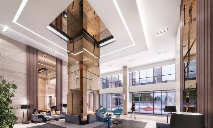 Rendering of the lobby at Sonic, a new condo development by Lindvest currently in preconstruction at Eglinton Avenue East in Toronto. The development has a total of 320 units, and is scheduled for completion in 2019. (Courtesy of Lindvest)