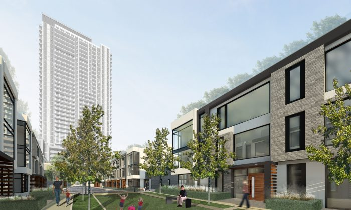 Rendering of The Met tower, with townhouses in the forefront. Plaza Corp's project at Highway 7 and Jane in Toronto will have 531 units, including three-bedroom suites, as well as townhouses. (Courtesy of Plaza Corp.)
