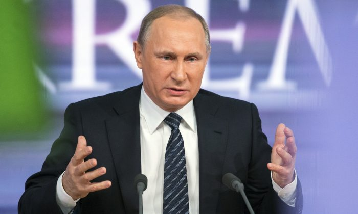 Russian President Vladimir Putin speaks during his annual news conference in Moscow, Russia, Thursday, Dec. 17, 2015. (AP Photo/Alexander Zemlianichenko)