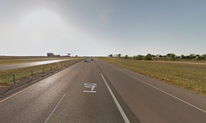 I-40 near the town of Hydro, Oklahoma (Google Street View)