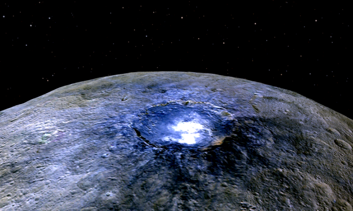"""Ceres itself is very dark. It's one of the darkest asteroids visited,"" says Carle Pieters. ""But these spots were much, much brighter than everything else on the surface."" This image of bright spots in the Occatur Crater was taken by the Dawn spacecraft from a distance of about 2,700 miles (4,400 kilometers). See more NASA images of Ceres. (Credit: NASA/JPL-Caltech/UCLA/MPS/DLR/IDA)"