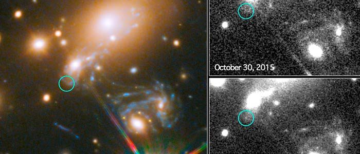 The reappearance of the Refsdal supernova was captured by the Hubble Space Telescope, seen on the left. The two smaller images show the supernova spotted at earlier times. (NASA/ESA)
