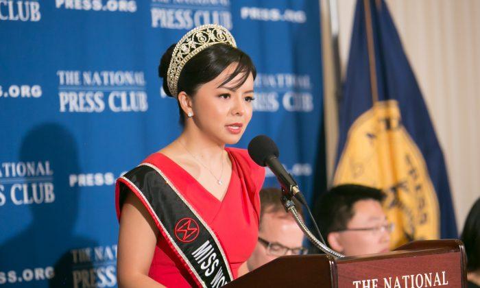 Anastasia Lin speaks at the National Press Club on Dec. 18. (Lisa Fan/Epoch Times)
