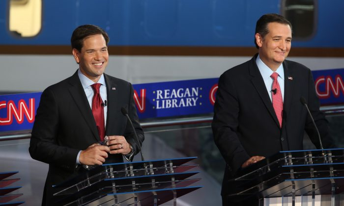 Republican presidential candidate Marco Rubio and Ted Cruz take part in the presidential debates at the Reagan Library on September 16, 2015 in Simi Valley, California. (Justin Sullivan/Getty Images)