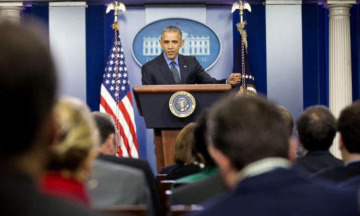 President Barack Obama speaks during a news conference in the White House Brady Press Briefing Room in Washington, Friday, Dec. 18, 2015. (AP Photo/Pablo Martinez Monsivais)