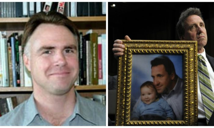 James Tracy, left; and Neil Heslin, the father of a six-year-old boy who was slain in the Sandy Hook massacre, right. (Florida Atlantic University; AP Photo/Susan Walsh)