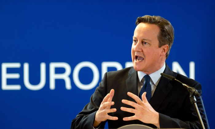 British Prime Minister David Cameron at a press conference as part of an extraordinary council at the EU headquarters in Brussels on Dec. 17, 2015, after a leaders summit. (Alain Jocard/AFP/Getty Images)