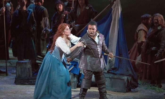 "Joyce DiDonato as Elena and Lawrence Brownlee as Giacamo V in Rossini's ""La Donna del Lago."" (Marty Sohl/ Metropolitan Opera)"
