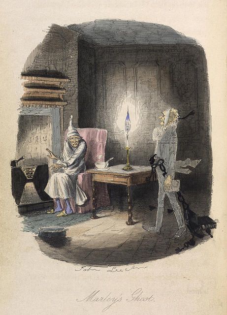 Ebenezer Scrooge visited by Marley's Ghost, from the 1843 edition of a Christmas Carol. (The British Library)