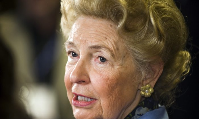 Phyllis Schlafly is interviewed by a television reporter while attending the Conservative Political Action Conference (CPAC) in Washington, Friday, Feb. 19, 2010. (AP Photo/Cliff Owen)