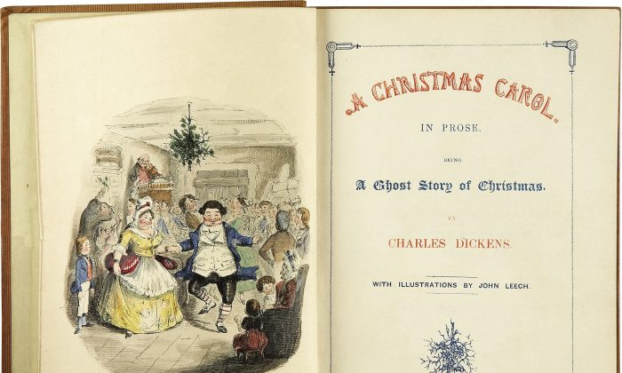 The title page from the first edition of A Christmas Carol. (John Leech via Wikimedia Commons)