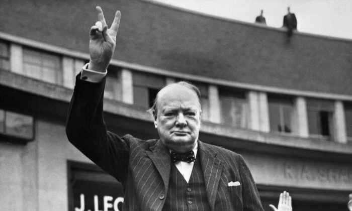 Undated picture of Sir Winston Churchill making the victory sign. (OFF/AFP/Getty Images)
