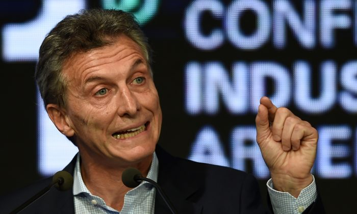 Argentina's President Mauricio Macri at a conference organized by the Argentine Industrial Union in Buenos Aires on Dec. 14, 2015. (Eitan Abramovich/AFP/Getty Images)