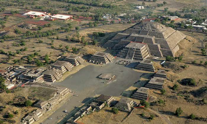 An aerial view of the Moon Pyramid in Teotihuacan, Mexico, on March 21, 2007. (Luis Acosta/AFP/Getty Images)