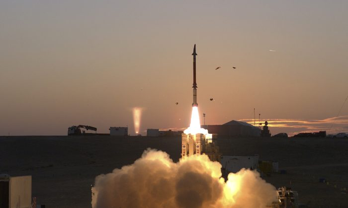 This photograph provided by the Israeli Ministry of Defense on Monday Dec. 21, 2015 shows a launch of David's Sling missile defense system. (Ministry of Defense via AP)
