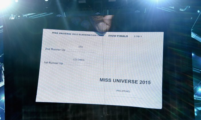 A card showing the order of the top three finalists in the 2015 Miss Universe Pageant is shown on screen after host Steve Harvey mistakenly named Miss Colombia 2015, Ariadna Gutierrez, the winner instead of first runner-up at The Axis at Planet Hollywood Resort & Casino on December 20, 2015 in Las Vegas, Nevada. Miss Philippines 2015, Pia Alonzo Wurtzbach was eventually named as the winner. (Photo by Ethan Miller/Getty Images)