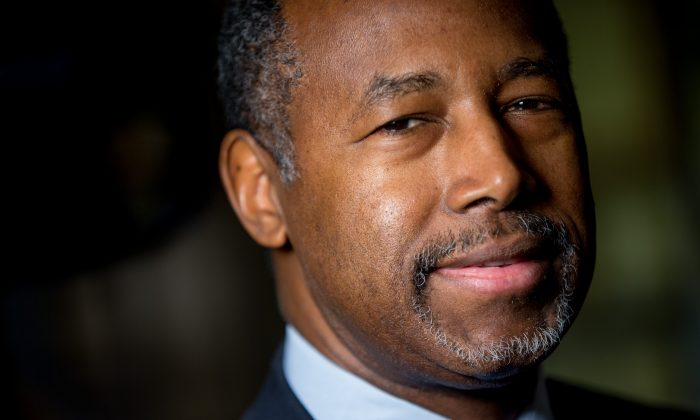 Republican presidential candidate Dr. Ben Carson poses for a photograph before speaking with The Associated Press in his home in Upperco, Md., on Dec. 23, 2015. (AP Photo/Andrew Harnik)