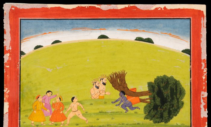 Krishna uprooting the tree, Basohli, India 1750,  ascribed to Manaku.