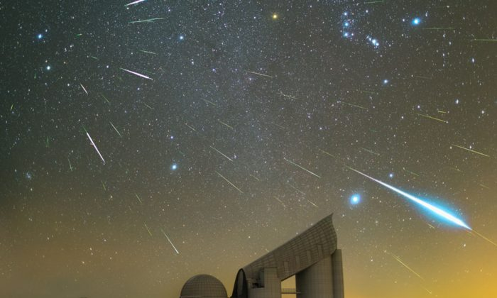 Geminid Meteor shower over the Xinglong Observatory Hebei Province, China, on Dec. 23, 2015. (Steed Yu & NightChina Via NASA)