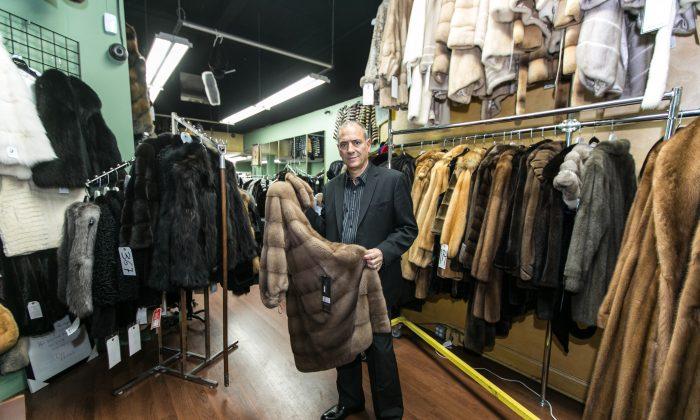 Not Just Mink Inc., owner George Sideris in his shop in Manhattan on Dec. 24, 2015. (Benjamin Chasteen/Epoch Times)